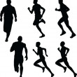 Running silhouette collection — Stock Vector