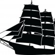 Sailboat silhouette with outline - Stock Vector
