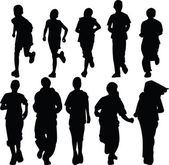 Kids running silhouette — Vector de stock
