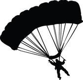 Parachutist silhouette — Stock Vector