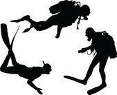 Scuba divers silhouette collection — Stock Vector