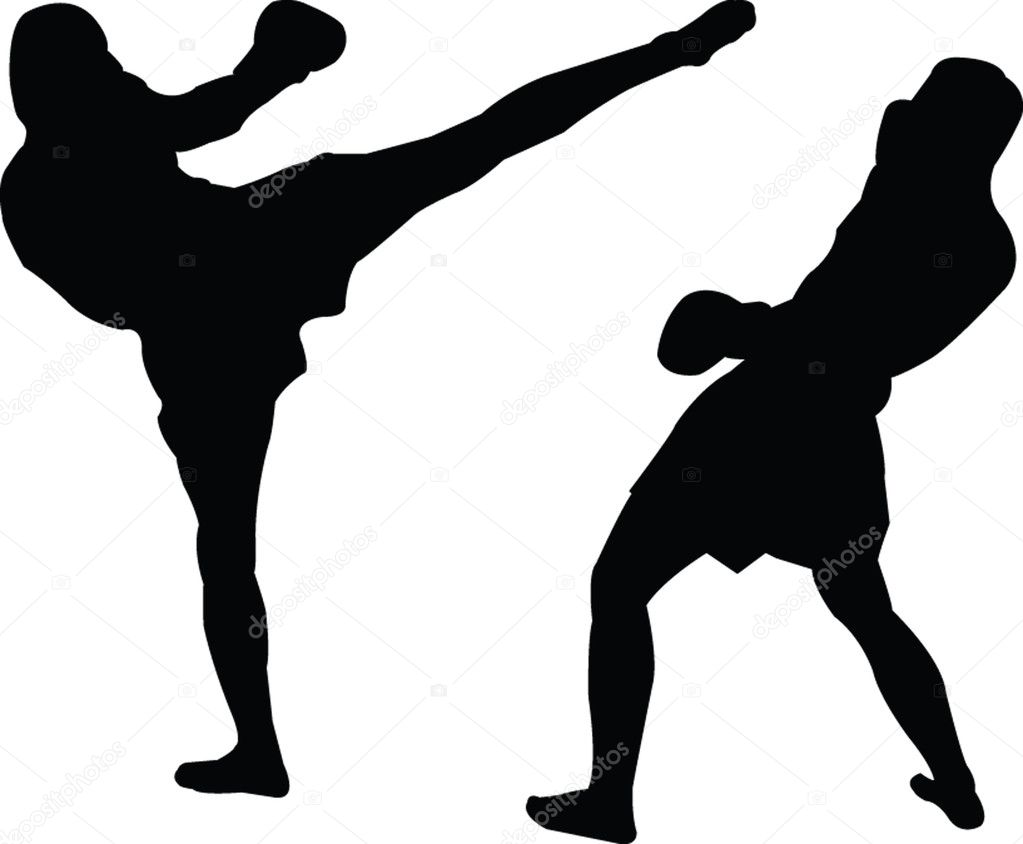 Kickboxing silhouette - vector  Stock Vector #2182962
