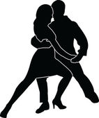 Tango couple silhouette — Stock Vector