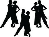 Tango couple silhouette collection — Stock Vector