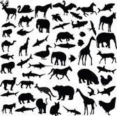 Big collection of different animals — Stock Vector