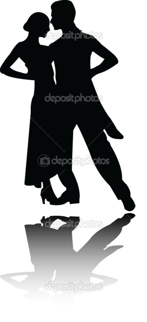 tango couple silhouette with shadow - vector — Stock Vector #2247306