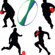 Rugby players collection silhouette - Stock Vector
