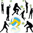 Stock Vector: Volleyball players collection