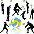 Volleyball players collection — Stock Vector