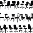 Big collection of chairs — Stock Vector
