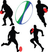 Rugby players collection silhouette — Stock Vector