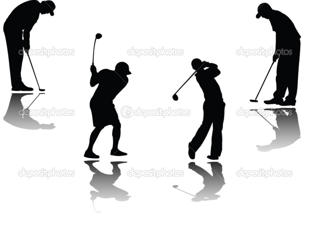 Golf player with shadow - vector — Stock Vector #2303783