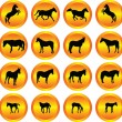 Horses collection in buttons — Vector de stock