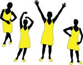Mädchen in gelben Kleid — Stockvektor