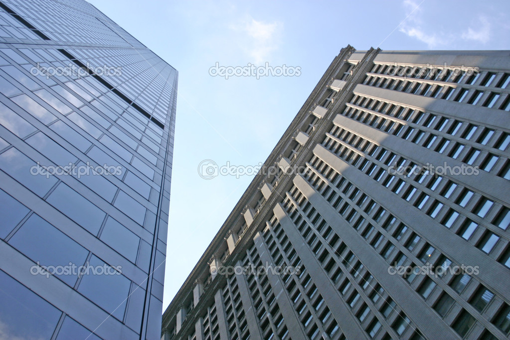Two skyscrapers located in the financial district of NYC — Stock Photo #2164825