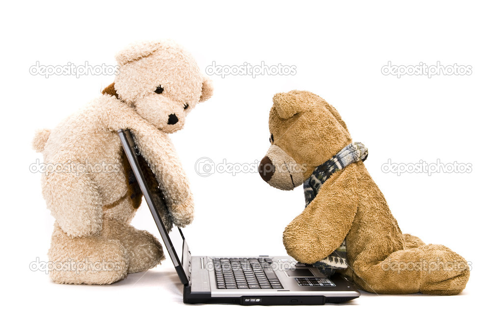Teddy Bear and modern silver laptop — Stock Photo #2221544