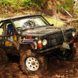 Stock Photo: 4x4 action through huge mud hole.