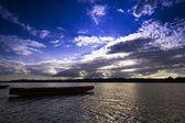 Boats at sunset on the Danube river — Stock Photo