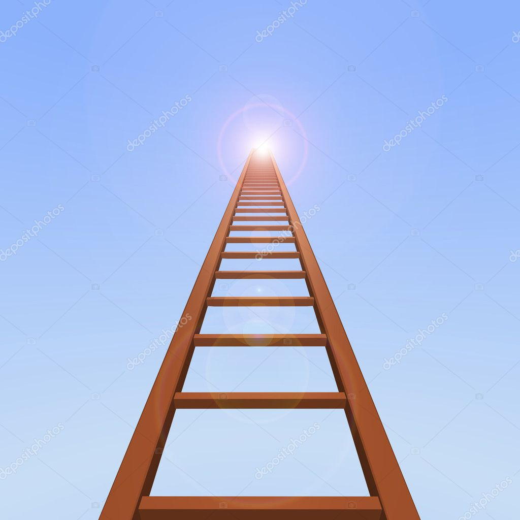 3D ladder reaching up to the blue sky. — Stock Photo #2396060
