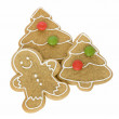 Gingerbread man with Christmas cookies — Stock Photo