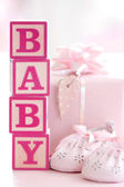 Pink baby building blocks — Stock Photo