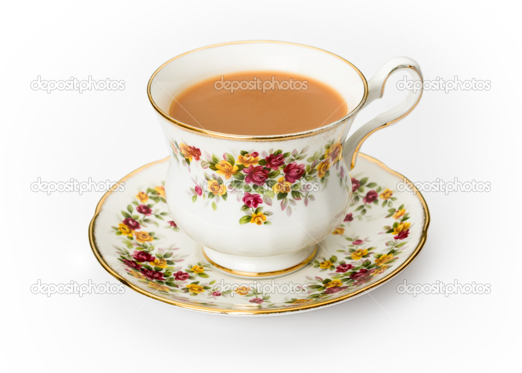 Tea served in a traditional English cup and saucer — Stock Photo #2059420
