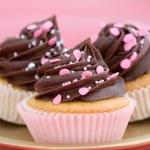 Pink chocolate cupcakes — Stock Photo