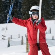 Boy on ski lift — Stock Photo #2269124