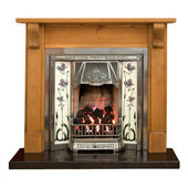 Pine fireplace — Stock Photo