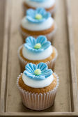 Blue mini flower cupcakes — Stock Photo