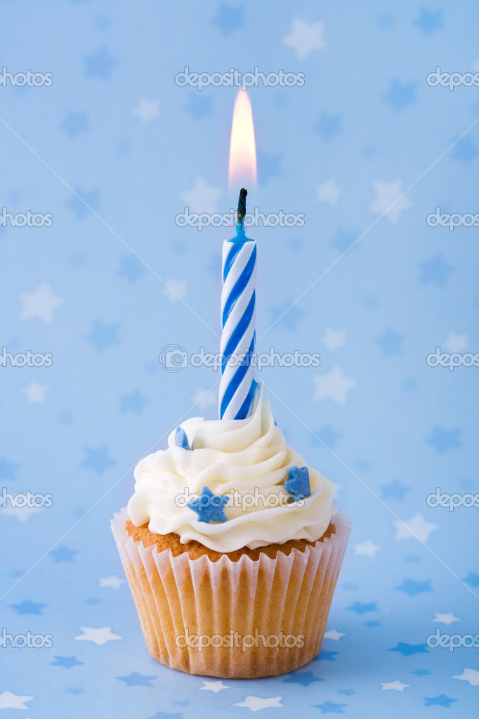Happy Birthday Blue  Cup Cake