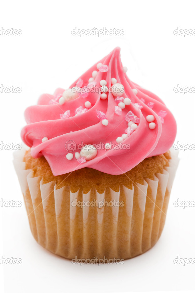 Pink cupcake isolated against a white background  Foto Stock #2266392