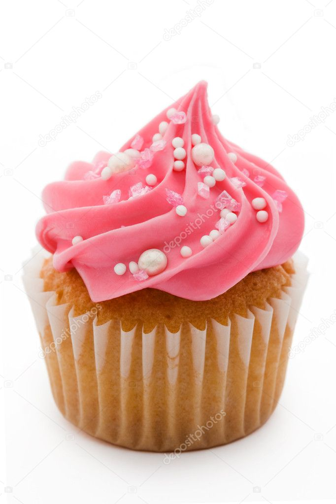 Pink cupcake isolated against a white background — Photo #2266392