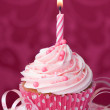 Pink birthday cupcake — Stock Photo