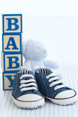 Blue baby shoes — Stock Photo