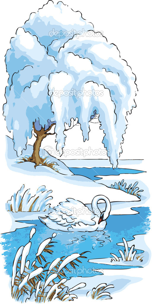 Vector drawing. The swan was left to winter on the lake — Stock Vector #2326825