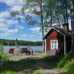 Finnish sauna and hot tub — Stock Photo