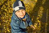 Boy among autumn leaves — Stock Photo