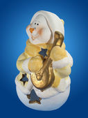 Snowman with lute. — Stock Photo