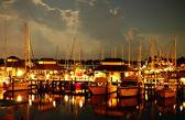 Boats at night — Stock Photo