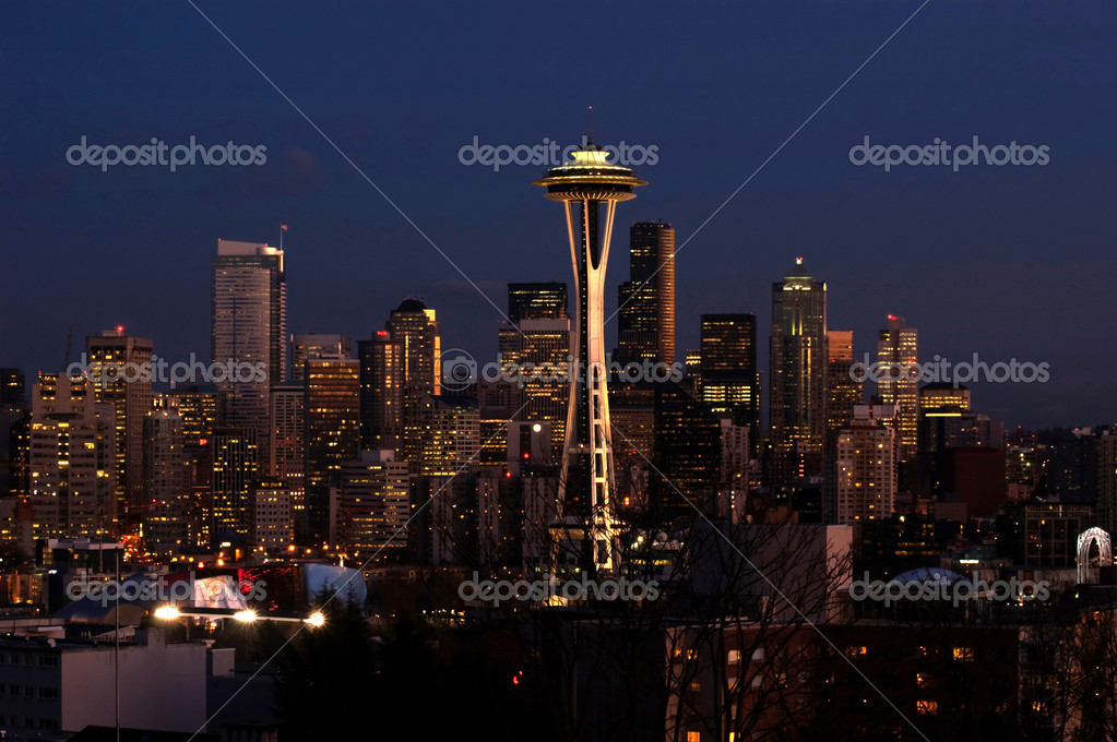 Night view of Seattle downtown with Space Needle in the middle  Stock Photo #2157007