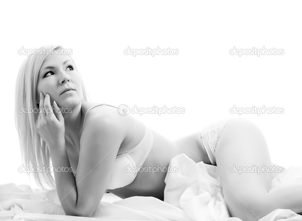 Young blonde woman in white fresh lingerie — Stock Photo #2127957