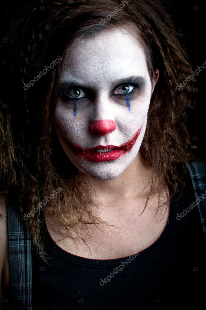 A scary and evil looking female clown — Stock Photo #2128622