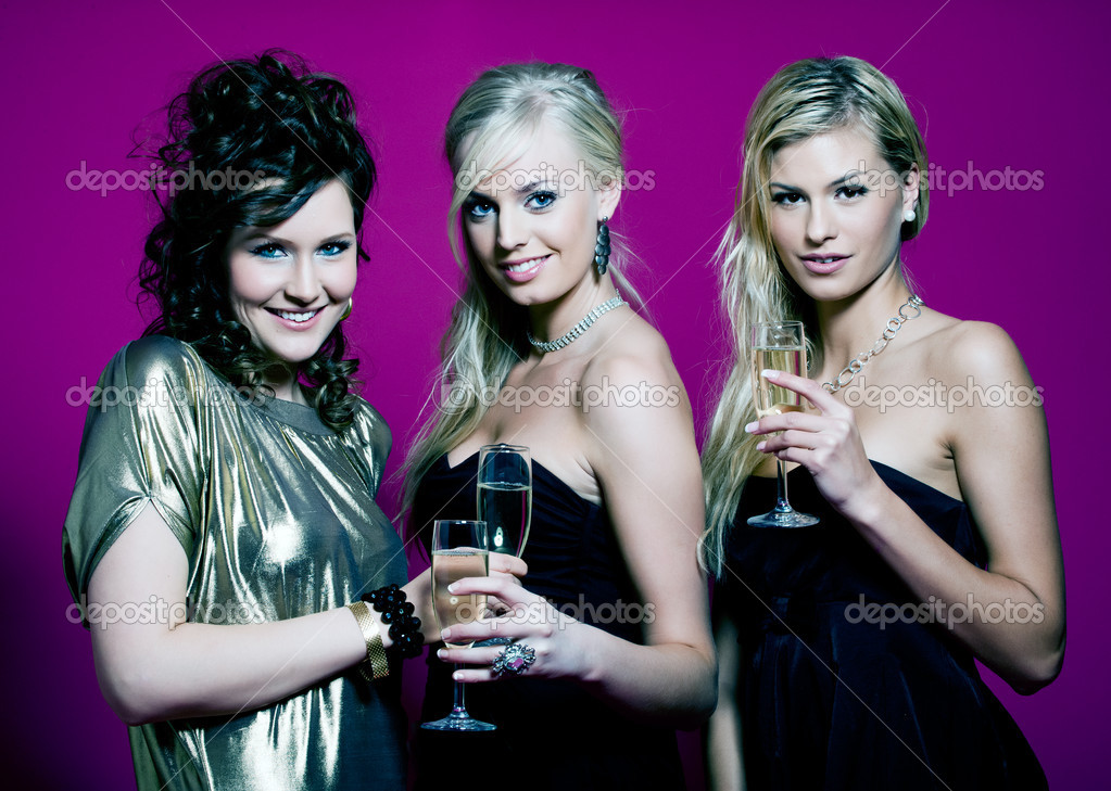 Three girlfriends ready for a party night  Stock Photo #2230329