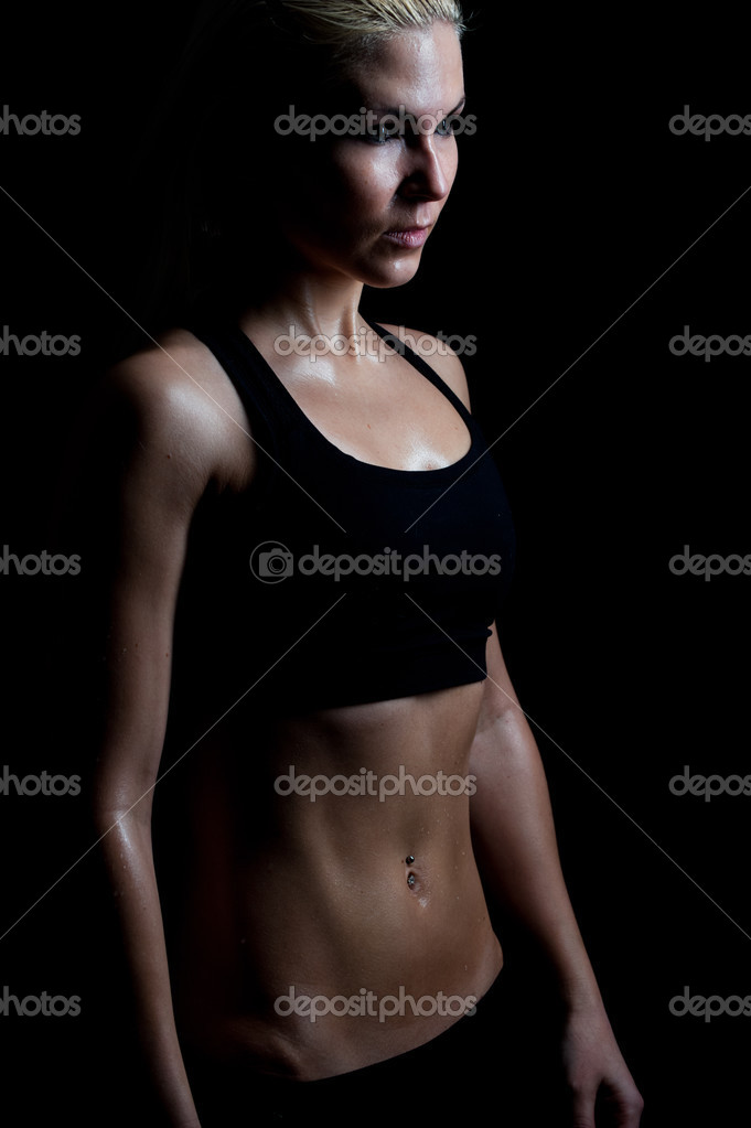 A fit blonde woman sweating after a workout — Foto de Stock   #2506910
