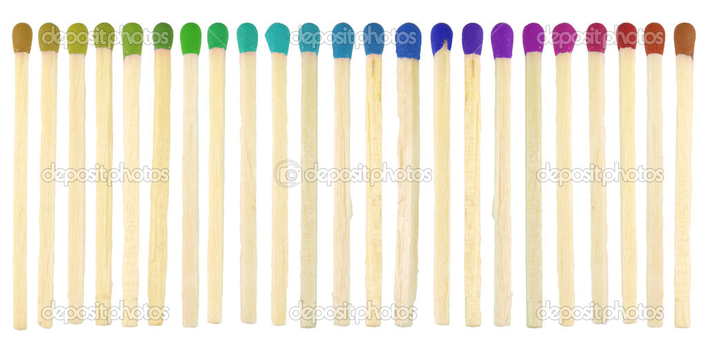 Match sticks with colored heads isolated on white  Stock Photo #2057113