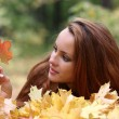 Stock Photo: Girl with maple leaf