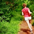 Woman In Red Running — Stock Photo