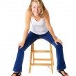 Casual Woman Sitting On A Small Ladder — Stock Photo