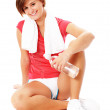 Young Fitness Woman in Red Shirt Isolated on Whi — Stock Photo